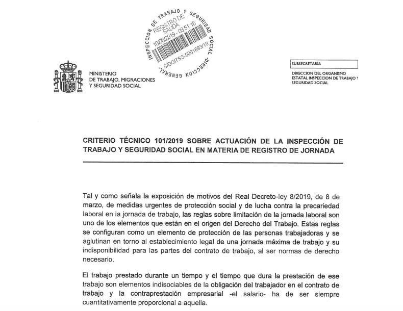 """Foto de la página publicada por el Ministerio de Trabajo, Migraciones y Seguridad Social """"Criterio Técnico 101/2019 sobre actuación de lnspección de Trabajo en materia de registro de jornada"""""""