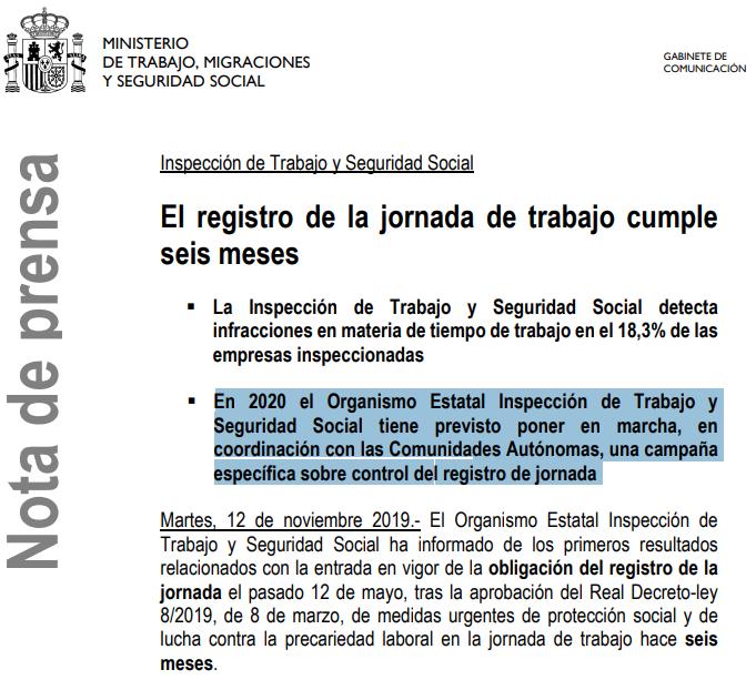 Imagen de la nota de prensa de Inspección de Trabajo y Seguridad Social donde anuncia que tiene previsto poner en marcha una campaña específica sobre control del registro de jornada.