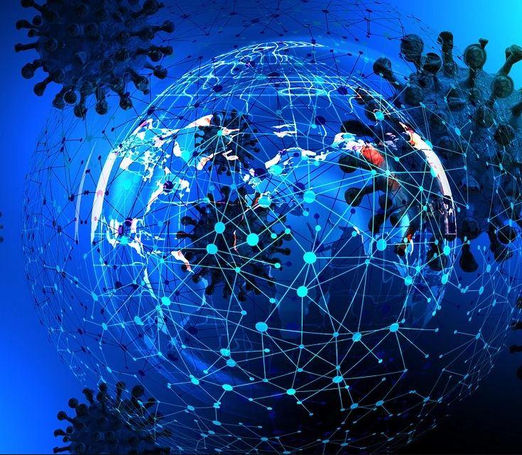 Imagen de coronavirus y redes digitales